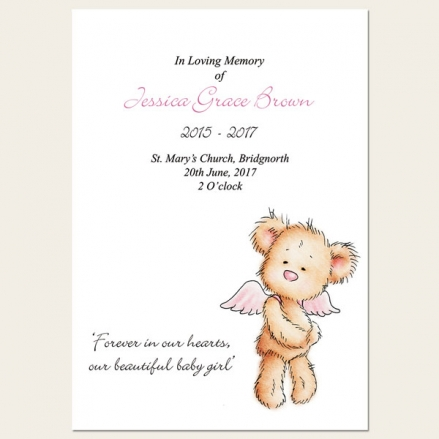 Funeral Order of Service - Baby Girl Angel Teddy