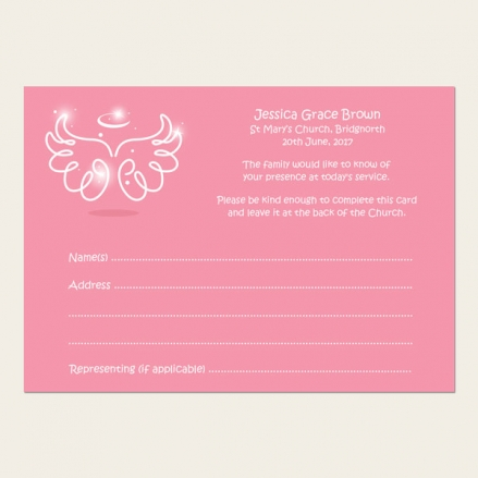 Funeral Attendance Cards - Baby Girl Angel Wings
