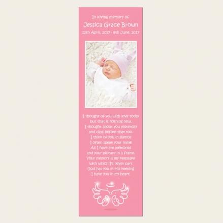 Funeral Bookmark - Baby Girl Angel Wings