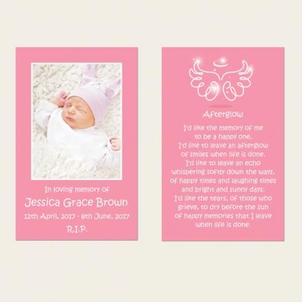 Funeral Memorial Cards - Baby Girl Angel Wings