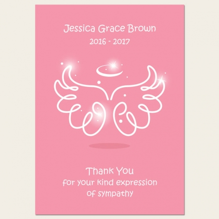 Funeral Thank You Cards - Baby Girl Angel Wings