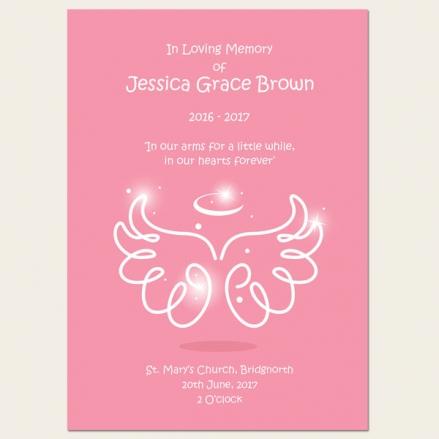 Funeral Order of Service - Baby Girl Angel Wings