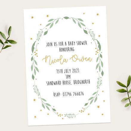 Baby-Shower-Invitations-Foliage-Wreath