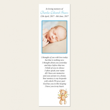 Funeral Bookmark - Baby Boy Angel Teddy
