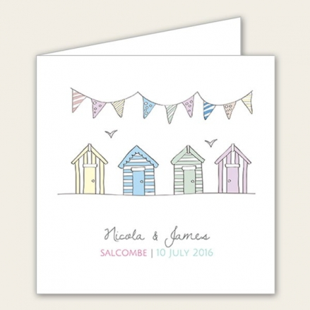 Bunting & Beach Huts - Wedding RSVP Cards