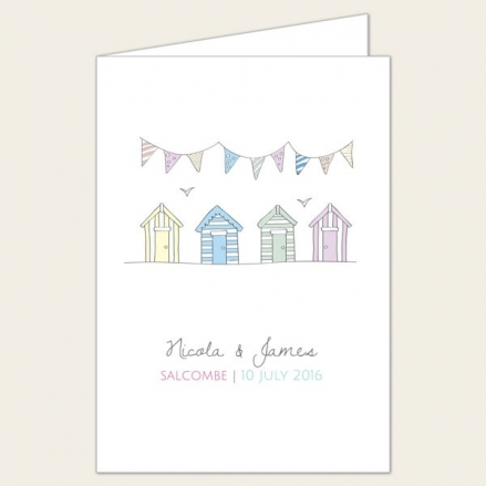Bunting & Beach Huts - Wedding Order of Service