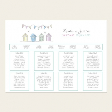 Bunting & Beach Huts - Table Plan