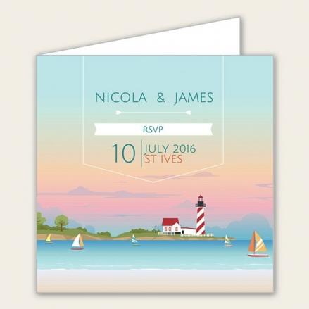 Coastal Scene - Wedding RSVP Cards