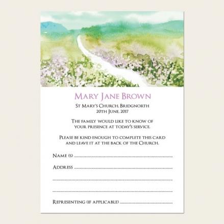 Funeral Attendance Cards - Beautiful Landscape