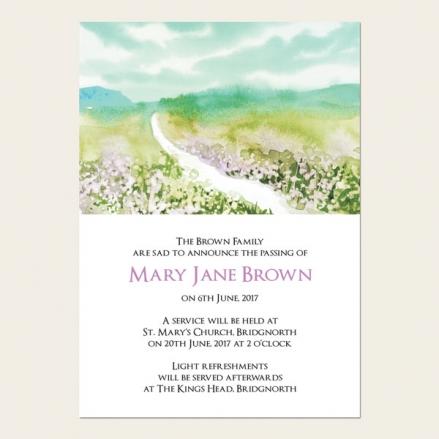 Funeral Announcement Cards - Beautiful Landscape