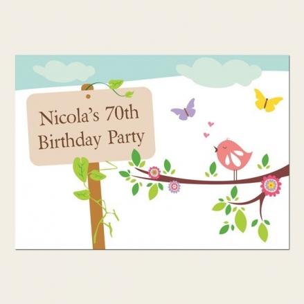 70th Birthday Invitations - Bird and Butterflies