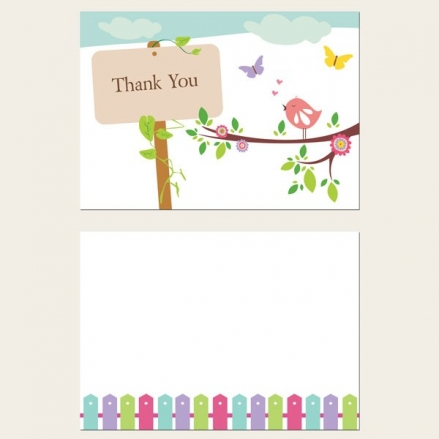Ready to Write Thank You Cards - Bird & Butterflies
