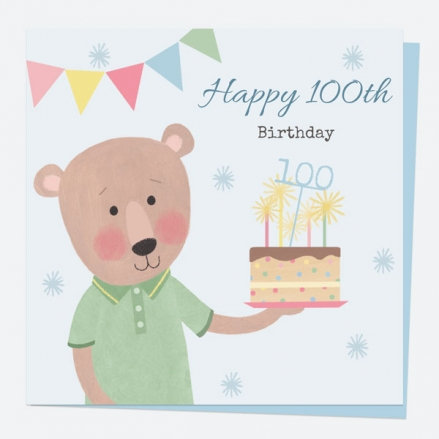 100th Birthday Card - Dotty Bear - Cake - Happy 100th