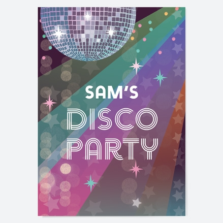 Kids Birthday Invitations Glitter Ball Disco Party thumbnail