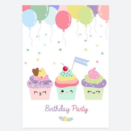 Kids Birthday Invitations - Happy Cupcakes - Pack of 10