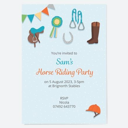 Kids Birthday Invitations Horse Riding Equestrian thumbnail