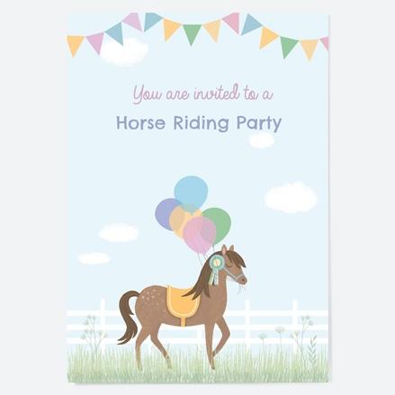 Kids Birthday Invitations Horse Riding Stables thumbnail