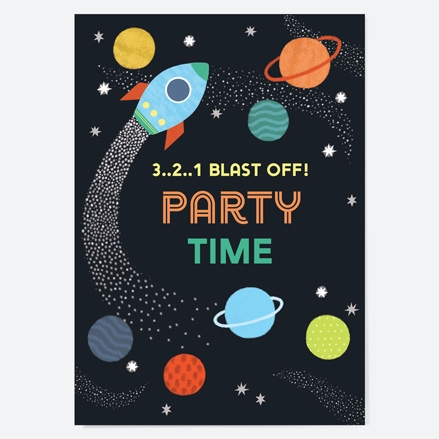 Kids Birthday Invitations Outer Space thumbnail