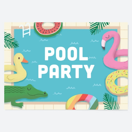 Kids Birthday Invitations Pool Party Inflatables thumbnail