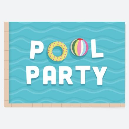 Kids Birthday Invitations Pool Party Waves thumbnail