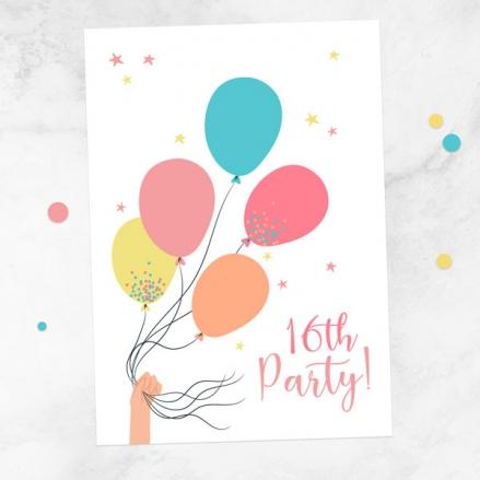 16th-birthday-invitations-tied-balloons