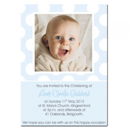 Christening Invitations - Use Own Photo Blue Polka Dot - Postcard - Pack of 10