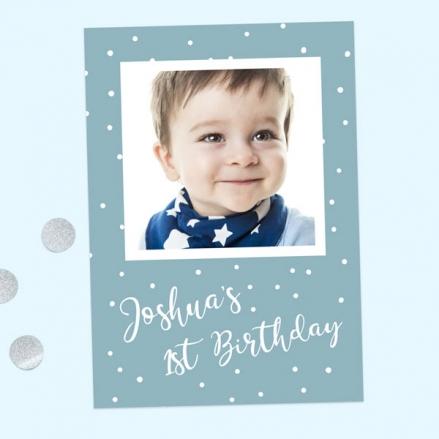 1st Birthday Invitations - Blue Dots Typography