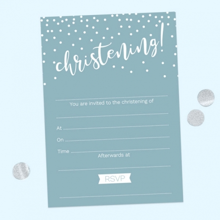Christening Invitations - Blue Dots Typography - Pack of 10