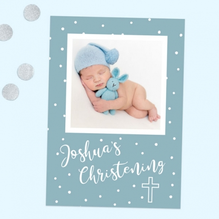 Christening Invitations - Blue Dots Typography - Use Your Own Photo - Pack of 10