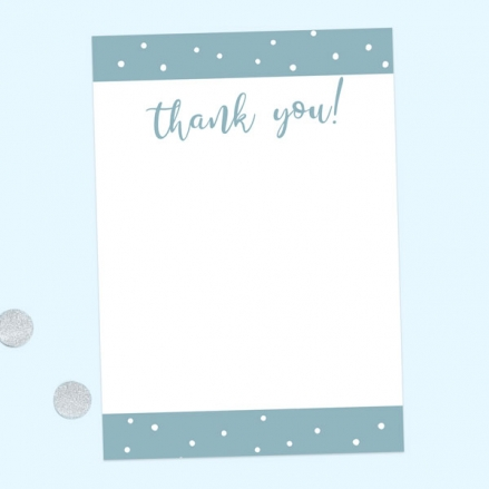 Ready to Write Thank You Cards - Blue Dots Typography - Pack of 10