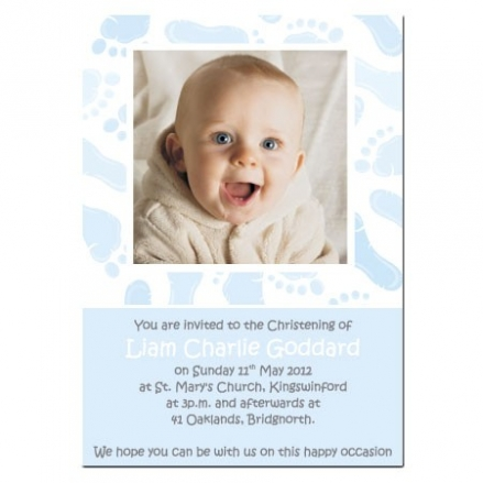 Christening Invitations - Blue Footprints - Use Own Photo - Postcard - Pack of 10