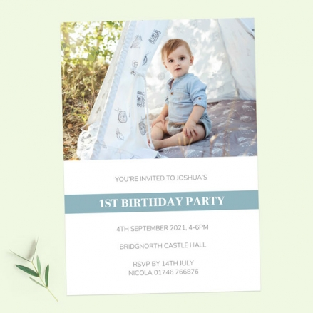1st Birthday Invitations - Blue Photo Typography - Pack of 10