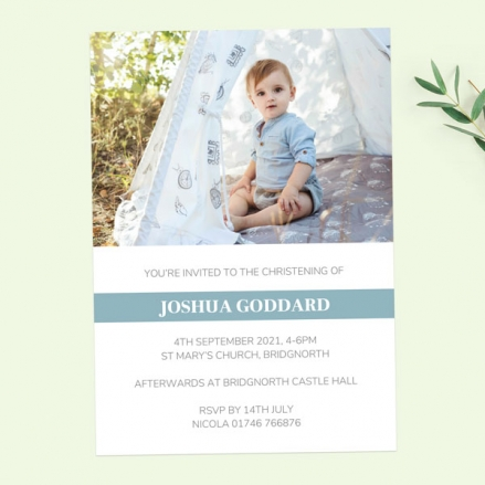 Christening Invitations - Blue Photo Typography - Pack of 10