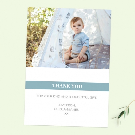 Thank You Cards - Blue Photo Typography - Pack of 10