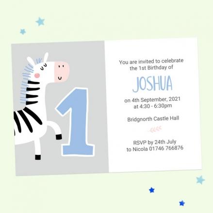 1st Birthday Invitations - Blue Zebra - Pack of 10