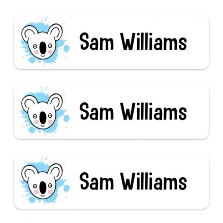 Medium Personalised Stick On Waterproof (Equipment) Name Labels - Blue Koala Splash - Pack of 42