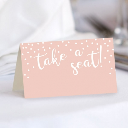 Blush Confetti Typography - Ready to Write Wedding Place Cards