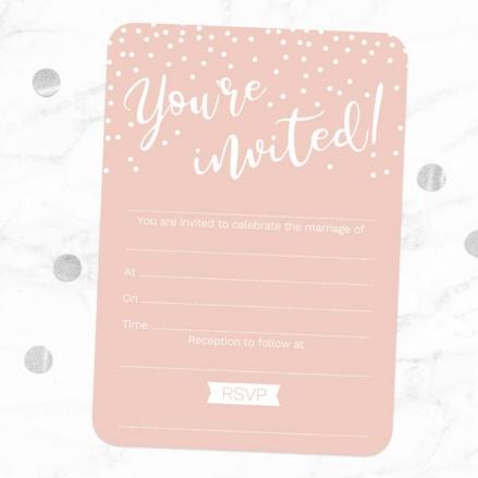Blush Confetti Typography - Ready to Write Wedding Invitations