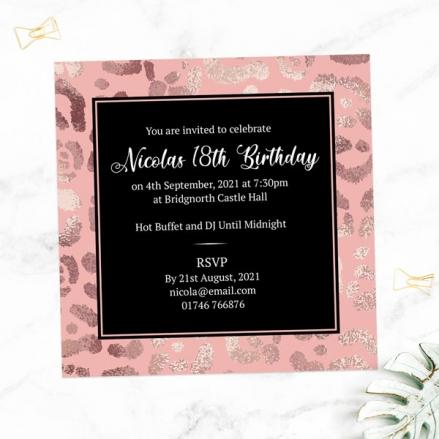 18th Birthday Invitations - Blush Leopard Print