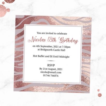 18th Birthday Invitations - Blush Tiger Print