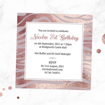 21st Birthday Invitations - Blush Tiger Print