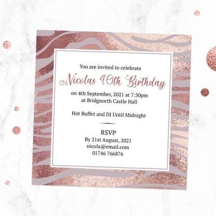 40th Birthday Invitations - Blush Tiger Print