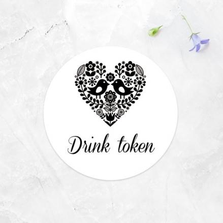 Bohemian Love Birds - Drink Tokens - Pack of 30