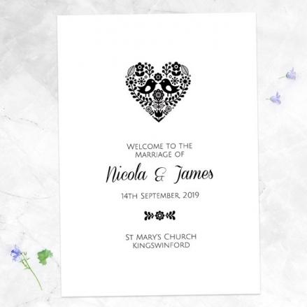 Bohemian Love Birds - Wedding Order of Service