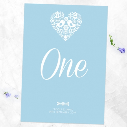 Bohemian Love Birds - Table Name/Number