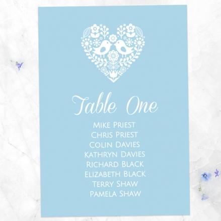 Bohemian Love Birds - Table Plan Cards