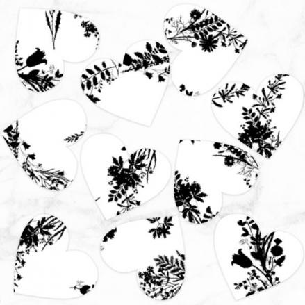 Boho Chalkboard Flowers - Heart Table Confetti