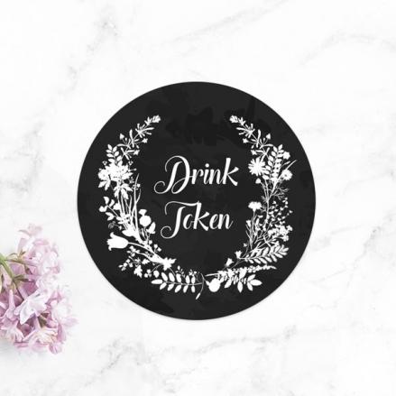 Boho Chalkboard Flowers - Drink Tokens - Pack of 30