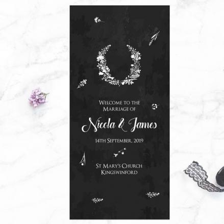 Boho Chalkboard Flowers - Order of Service Concertina