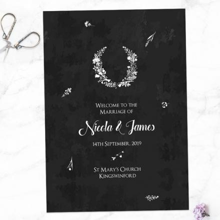 Boho Chalkboard Flowers - Wedding Order of Service